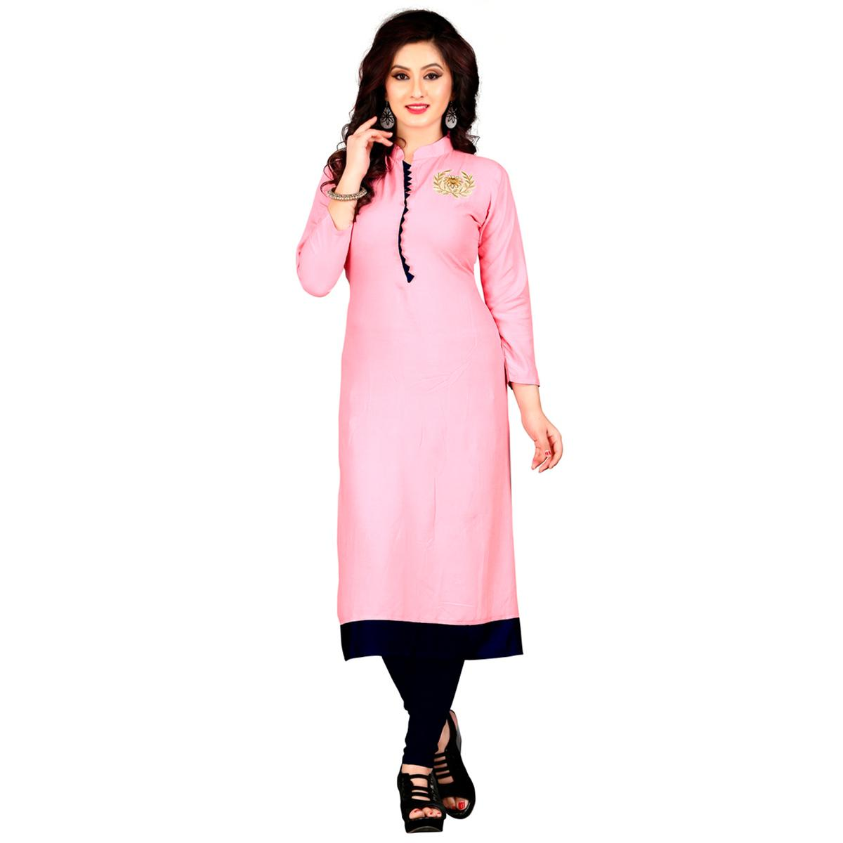 Light Pink Colored Embroidered Patch Rayon Kurti