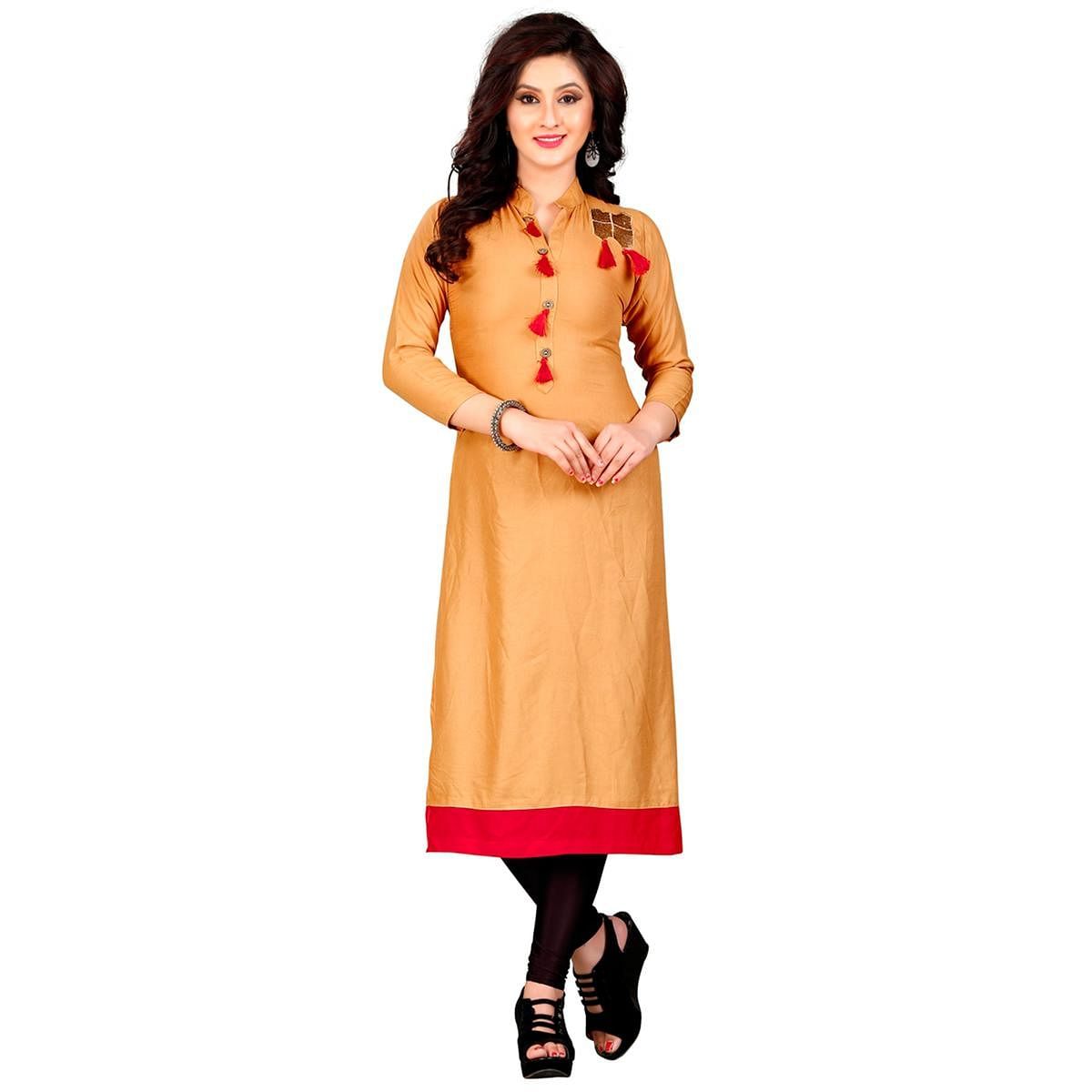 Orange Colored Embroidered Patch Rayon Kurti