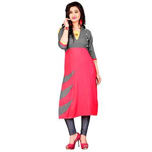 Gray-Pink Colored Casual Rayon Kurti