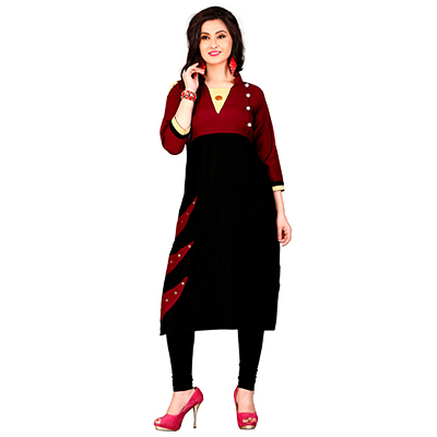 Maroon-Black Colored Casual Rayon Kurti