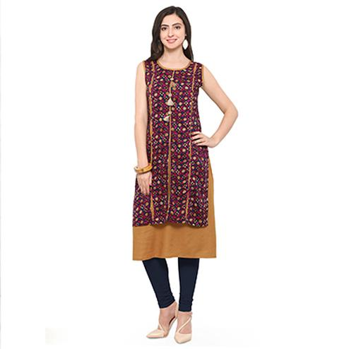 Pink-Beige Colored Casual Rayon Kurti