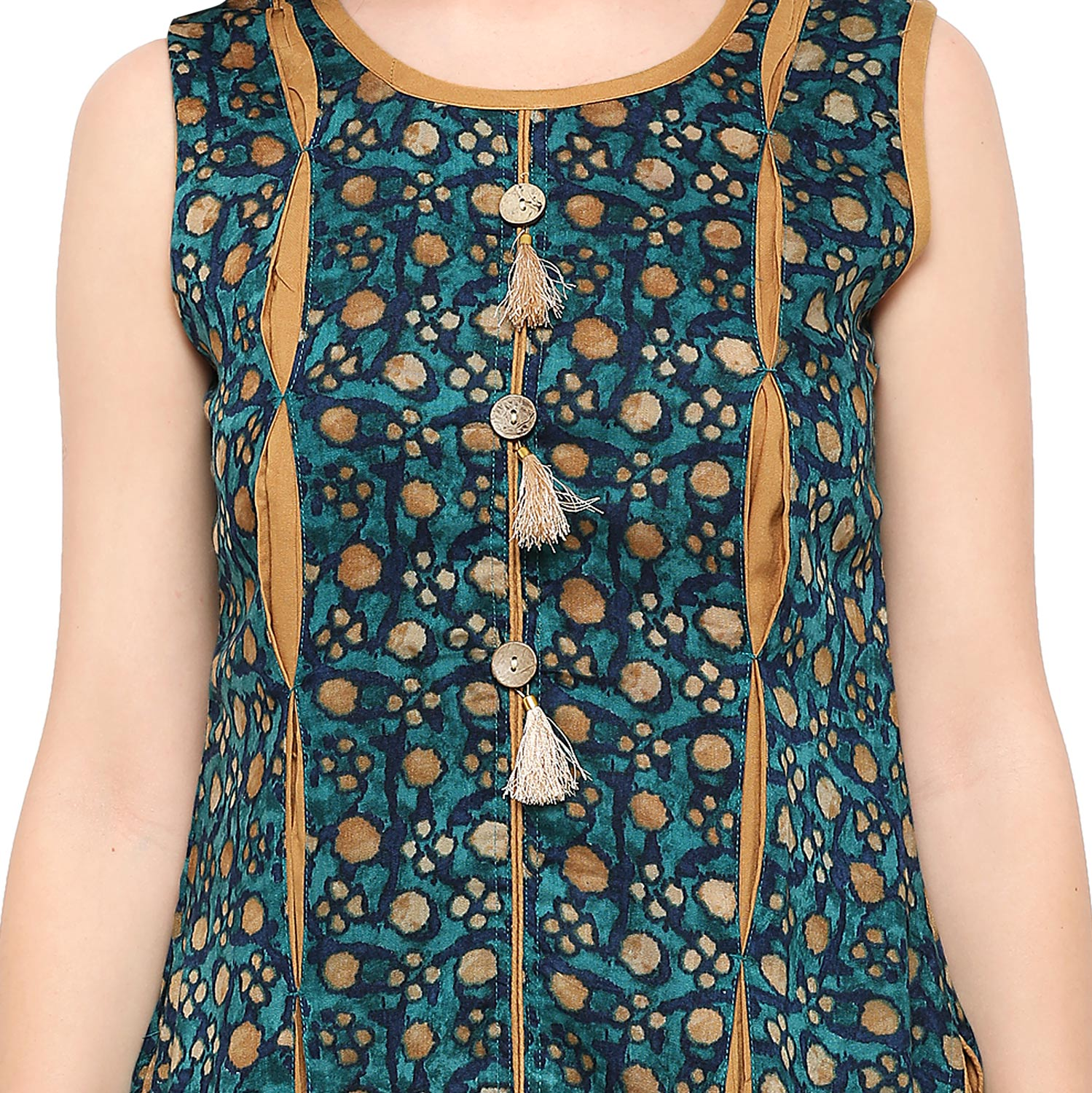 Green-Beige Colored Casual Rayon Kurti
