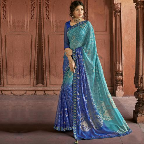 Triveni Blue Color Brasso Silk Casual Wear Saree With Blouse Piece