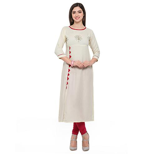 Off White Colored Casual Rayon Kurti