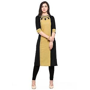 Black-Yellow Colored Cotton Kurti