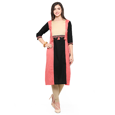 Peach-Black Colored Casual Cotton Kurti