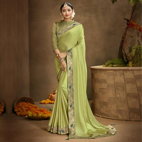 Triveni Light Green Color Chanderi Silk Casual Wear Saree With Blouse Piece