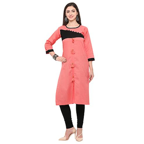 Peach Colored Casual Cotton Kurti