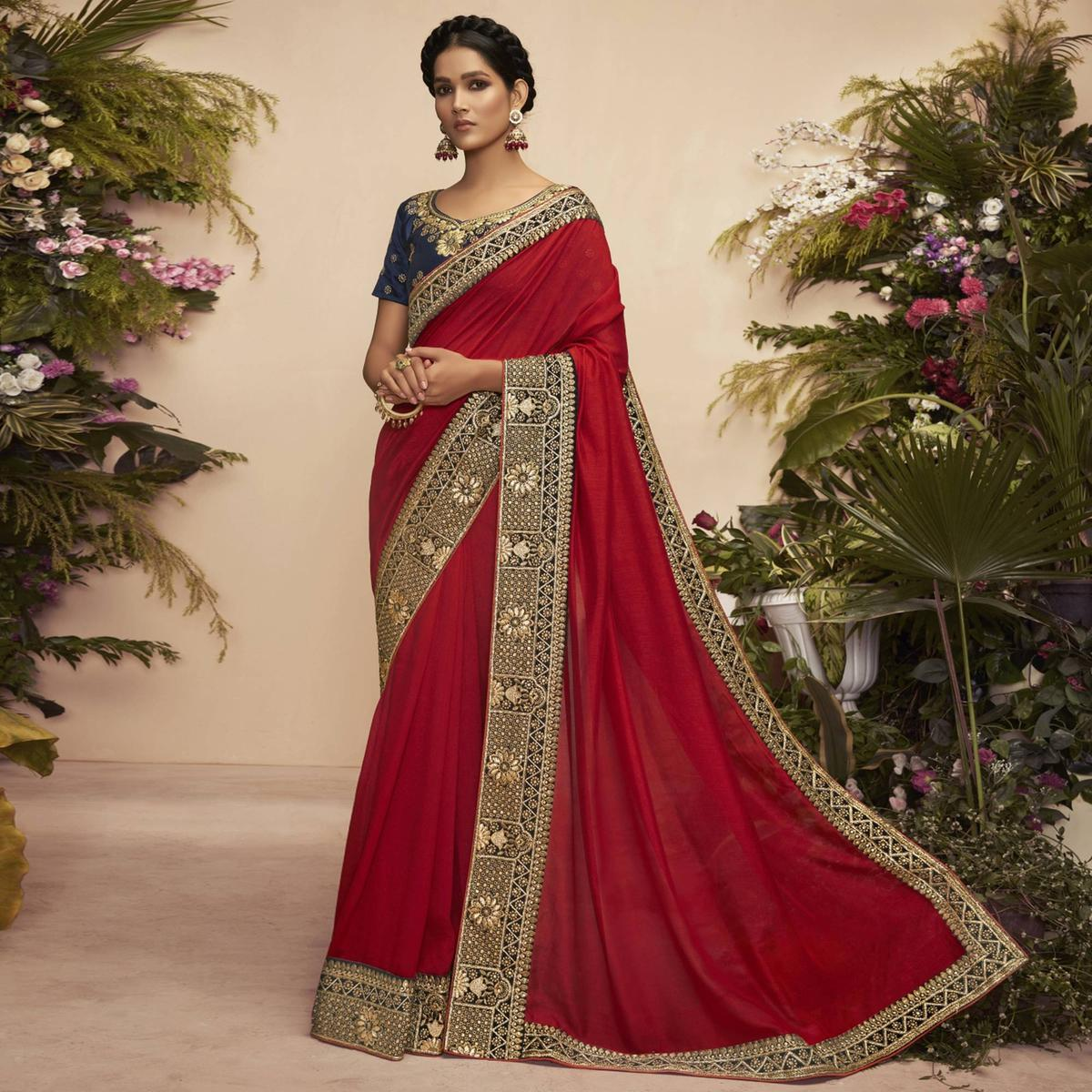 Triveni Red Color Chanderi silk Party Wear Saree With Blouse Piece