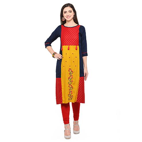 Multi Colored Embroidered Rayon Kurti