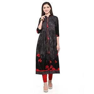 Black Colored Printed Rayon Kurti