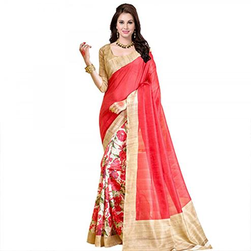Peach Printed Half & Half Saree
