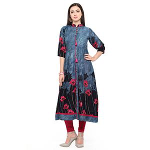 Blue Colored Printed Rayon Kurti