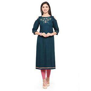 Teal Green Colored Embroidered Rayon Kurti