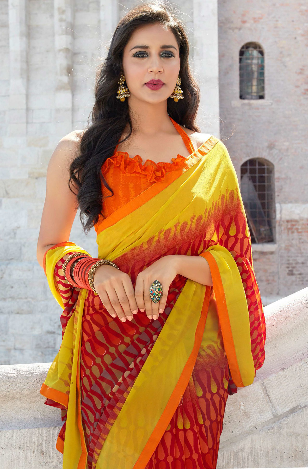 Graceful Maroon-Yellow Colored Casual Printed Weightless Georgette Saree