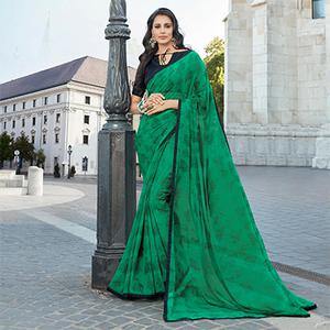 Stunning Green Colored Casual Printed Weightless Weightless Georgette Saree