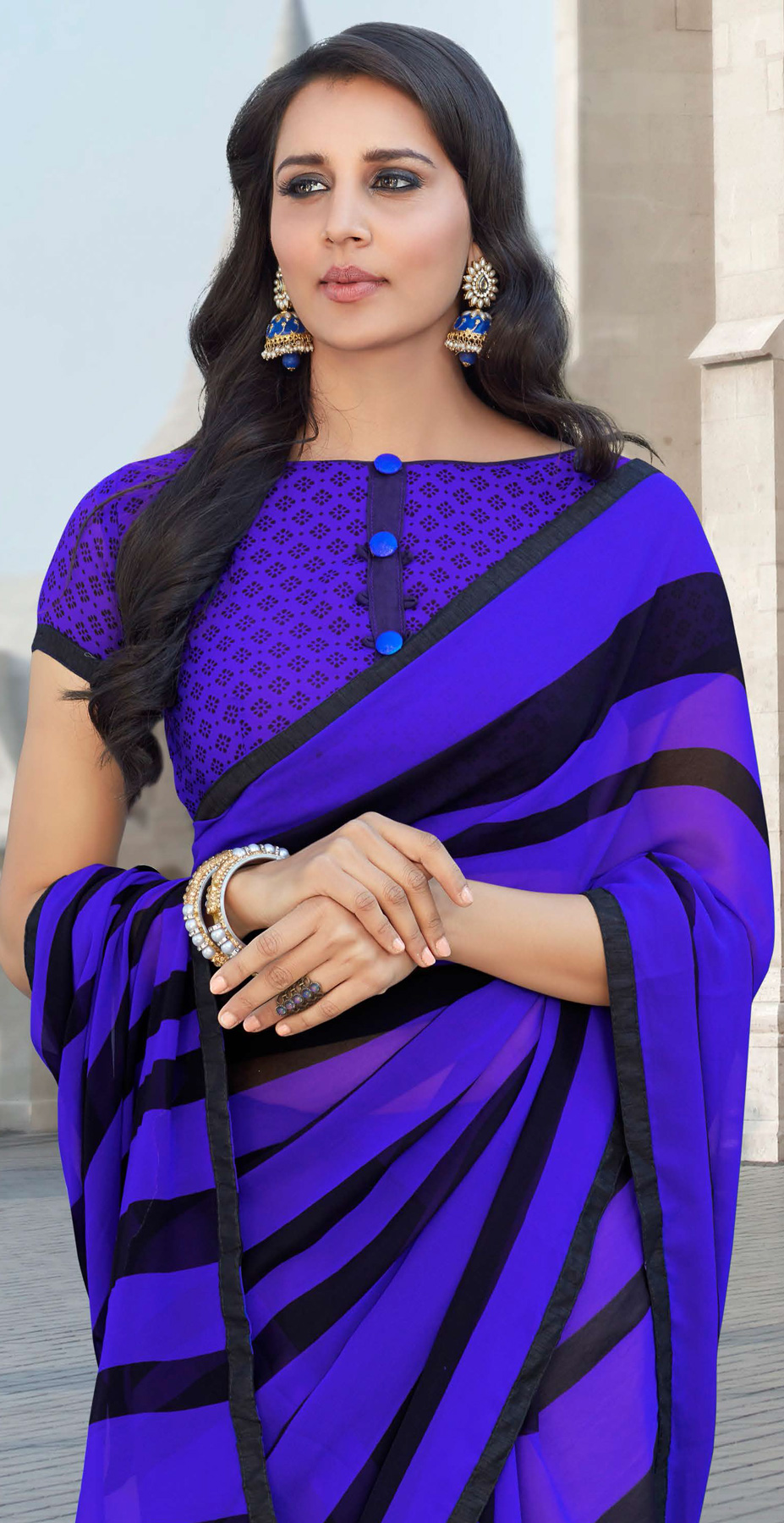Lovely Ink Blue Colored Casual Printed Weightless Georgette Saree
