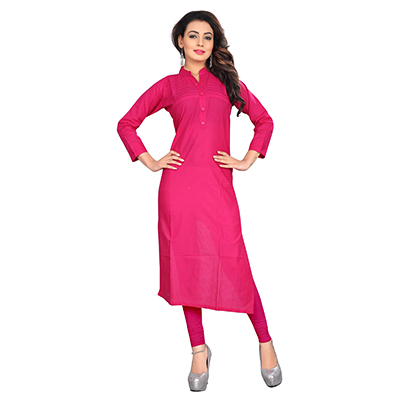 Pink Casual Wear Cotton Kurti