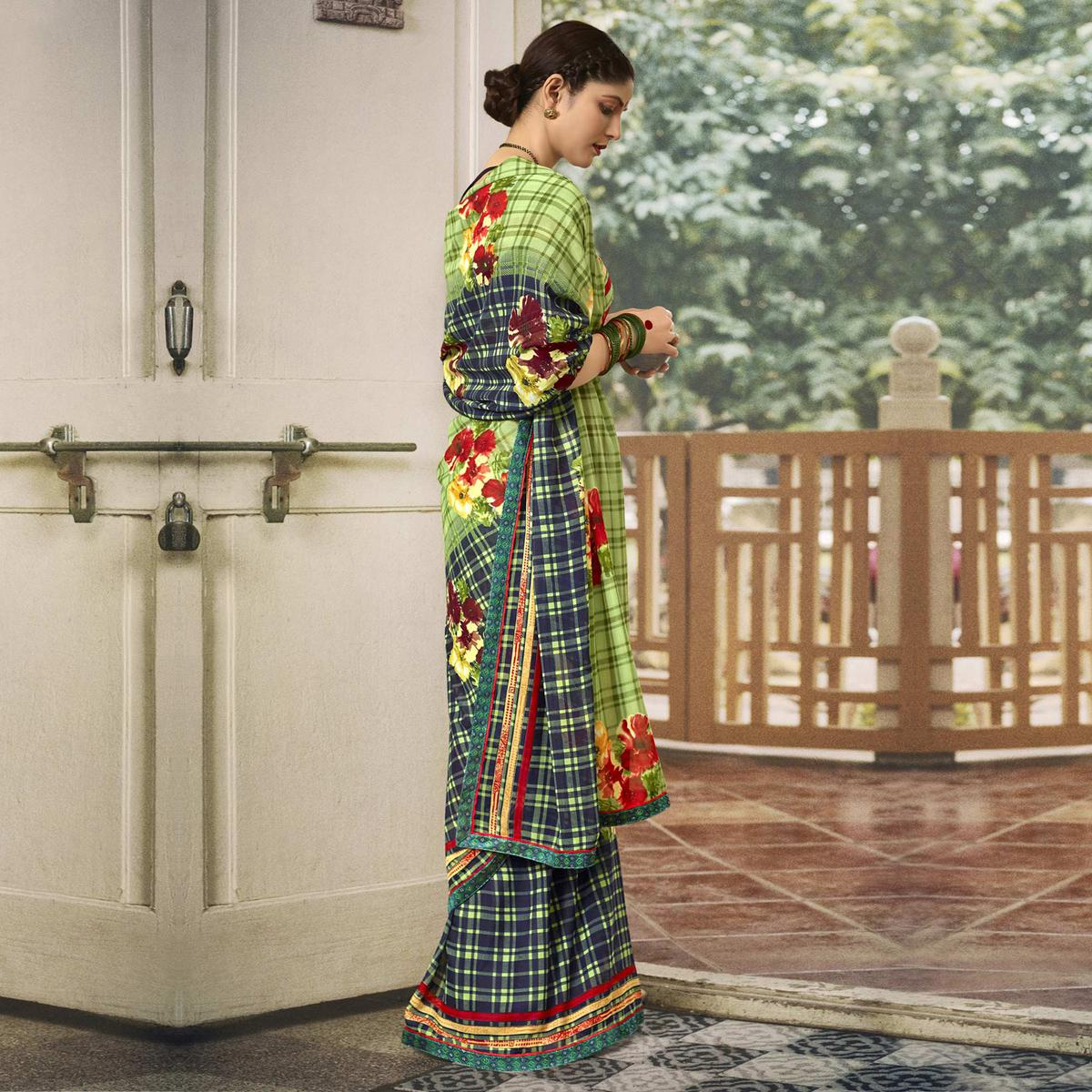 Triveni Green & Navy blue Color Georgette Casual Wear Saree With Blouse Piece