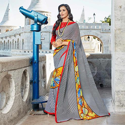 Appealing Multi Colored Casual Printed Weightless Georgette Saree