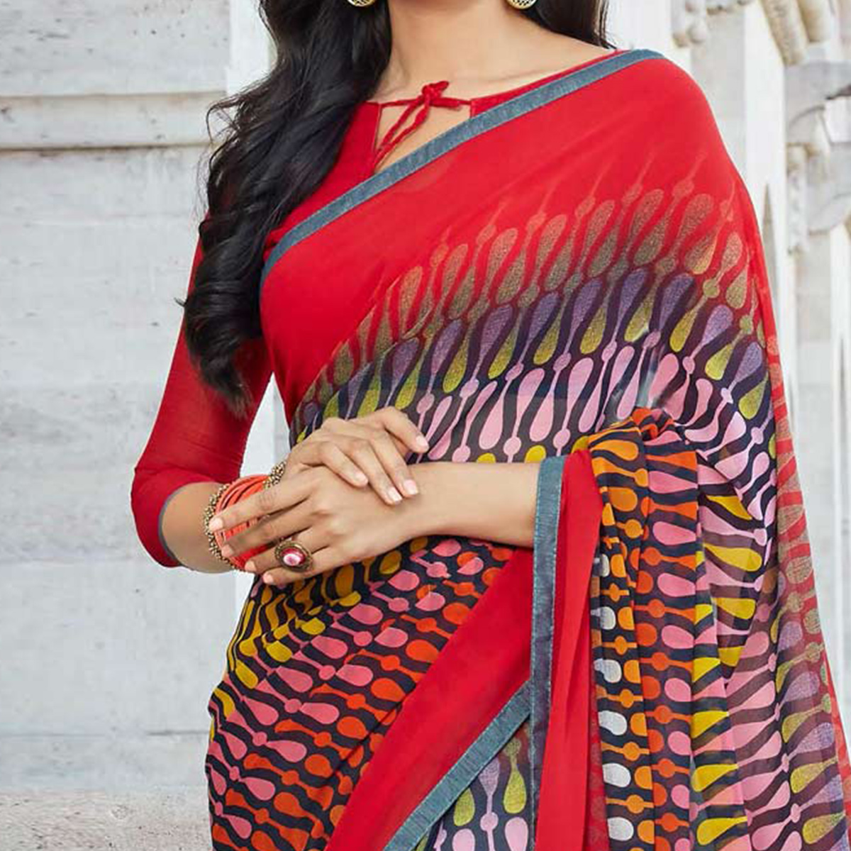 Gorgeous Multi Colored Casual Printed Weightless Georgette Saree