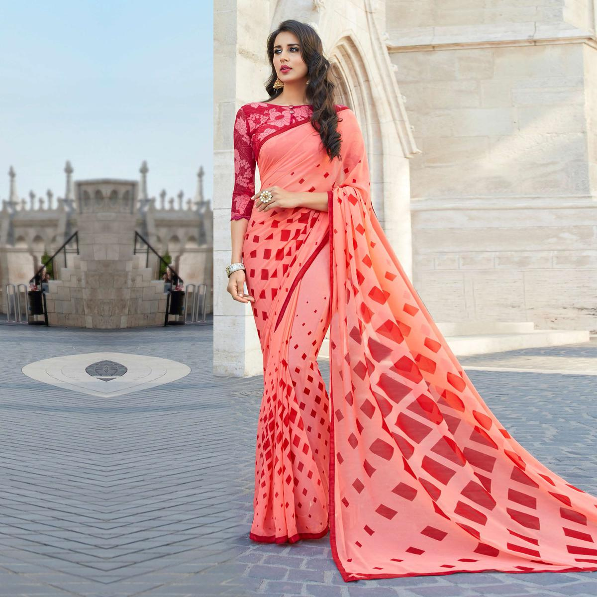Stunning Peach Colored Casual Printed Weightless Georgette Saree
