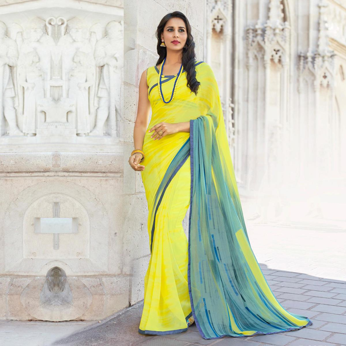 Lovely Yellow Colored Casual Printed Weightless Georgette Saree