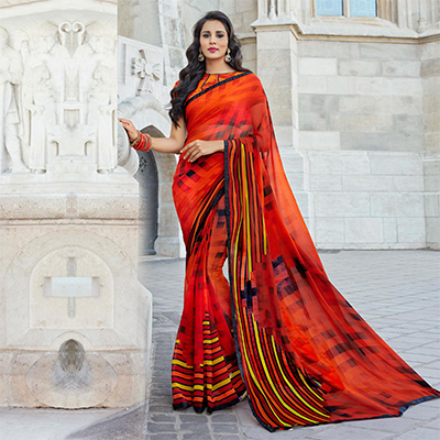 Stylish Orange-Red Colored Casual Printed Weightless Georgette Saree