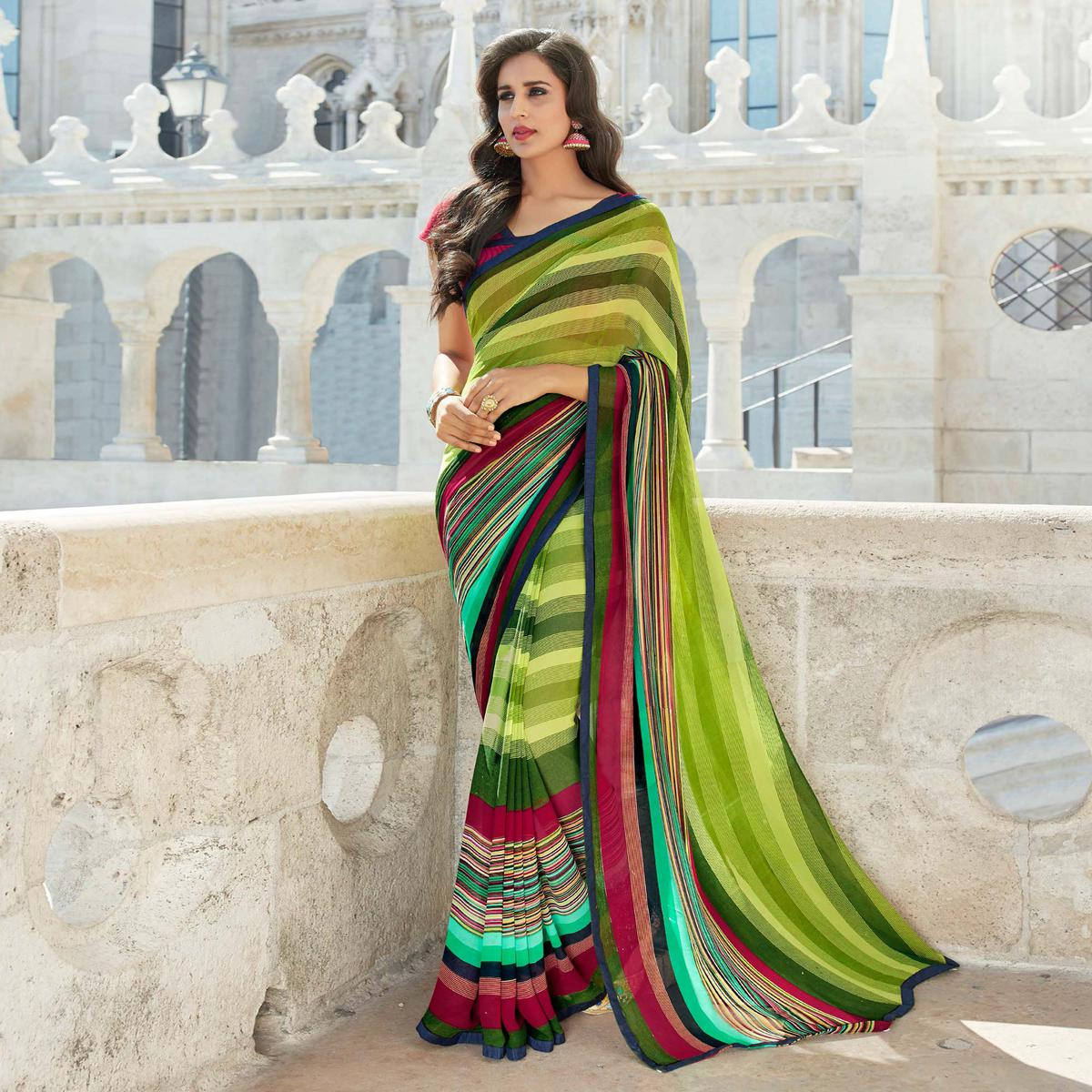 Beautiful Green Colored Casual Printed Weightless Georgette Saree