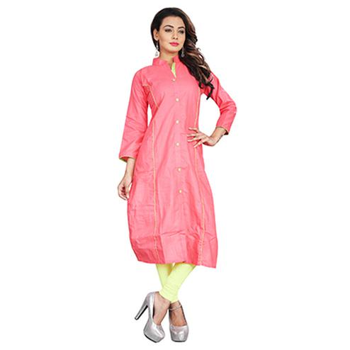 Pink Mandarin Collar Cotton Kurti