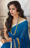Blooming Blue Colored Casual Printed Weightless Georgette Saree