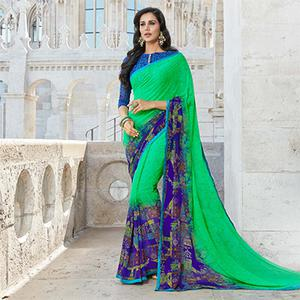 Appealing Green Colored Casual Printed Weightless Georgette Saree