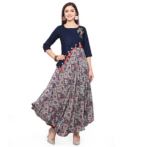 Navy Blue Colored Printed Rayon Kurti