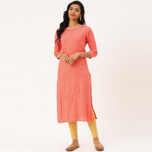 Blissta - Women's Light Orange Colored Foil Printed Rayon Straight Kurti