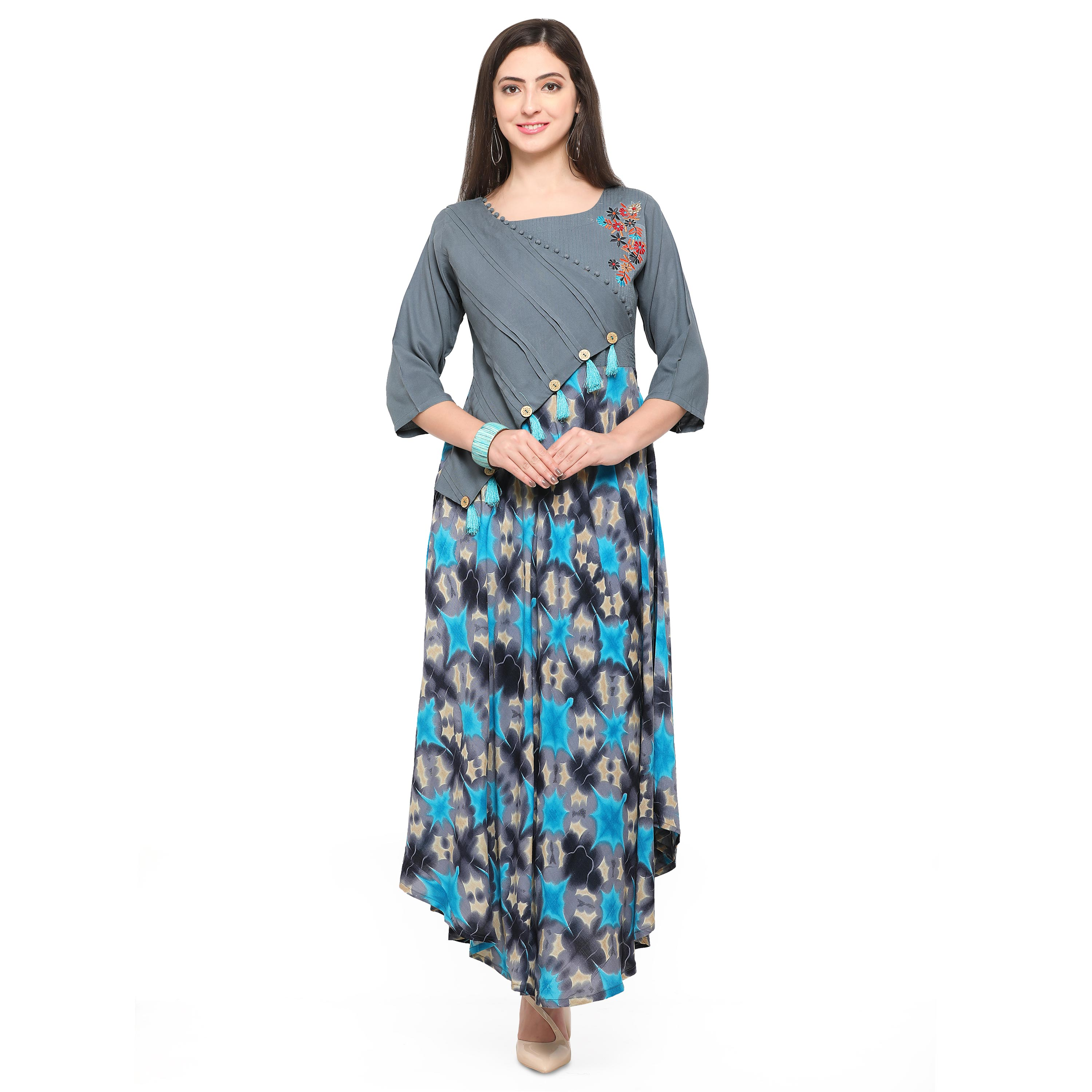 Gray Colored Printed Rayon Kurti