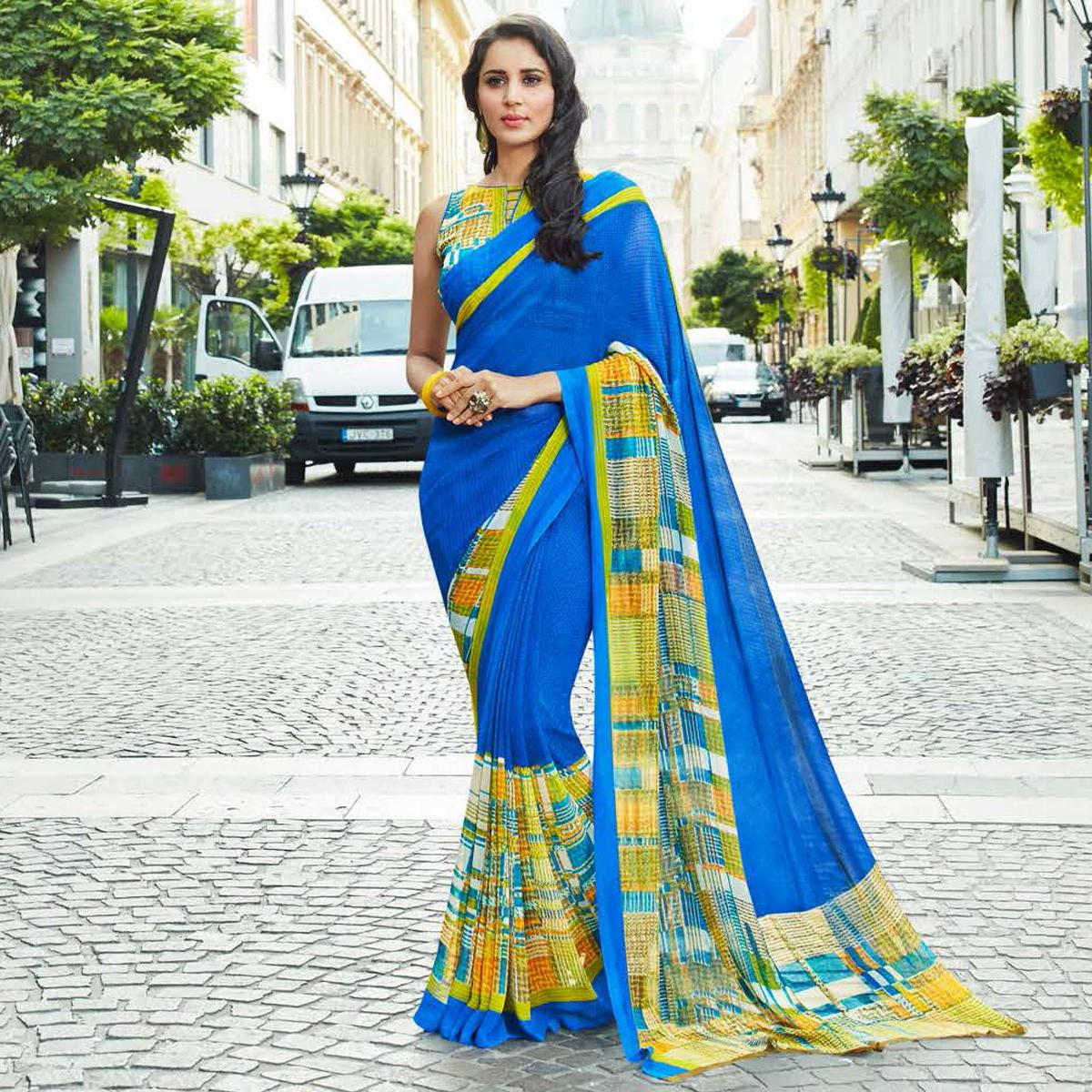 Appealing Blue Colored Casual Printed Weightless Georgette Saree