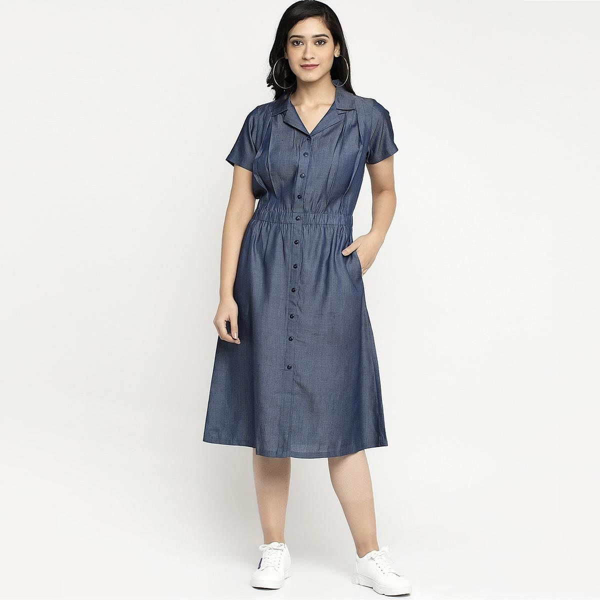 Ayaany - Women Blue Colored Casual Cotton Dress