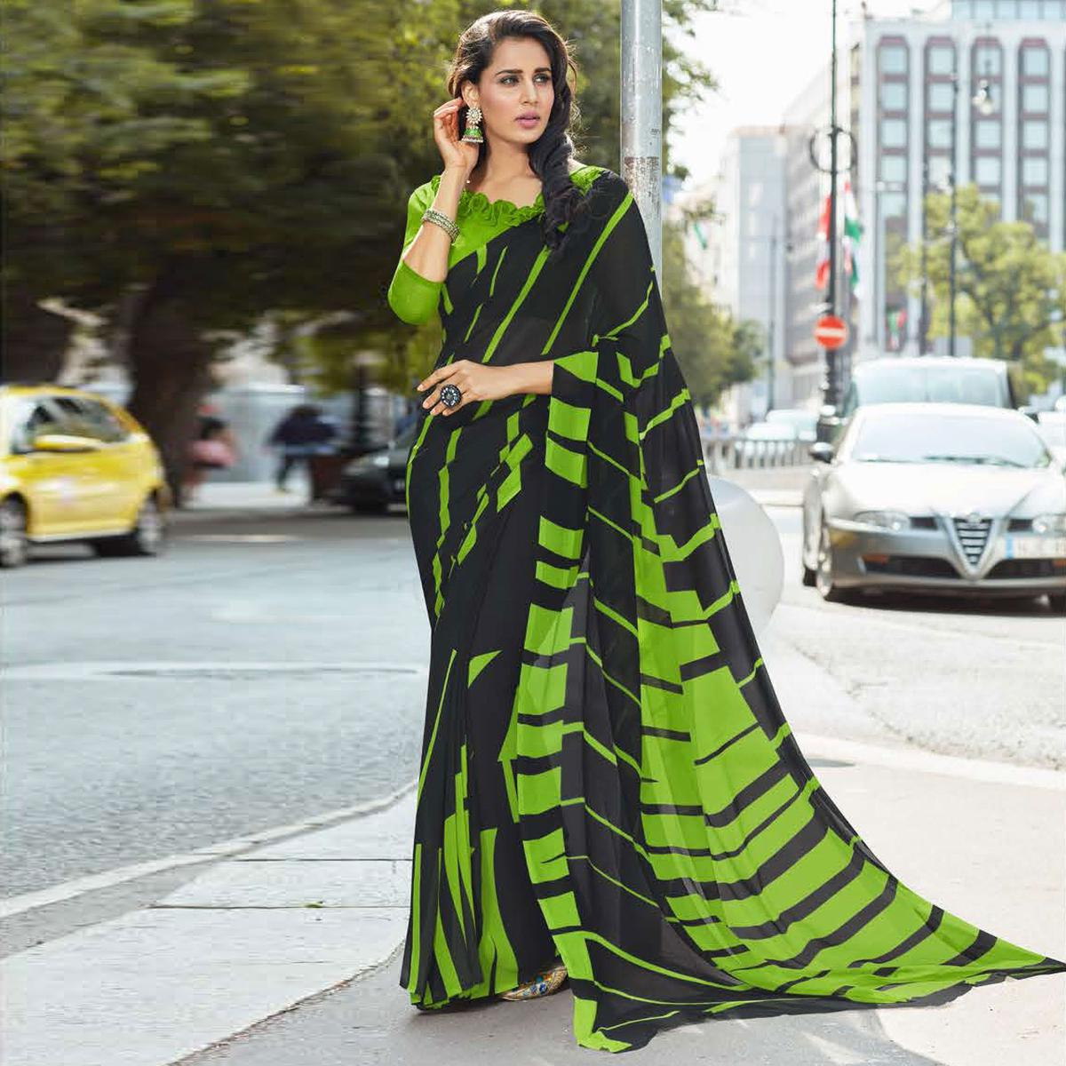 Ravishing Black-Green Colored Casual Printed Weightless Georgette Saree
