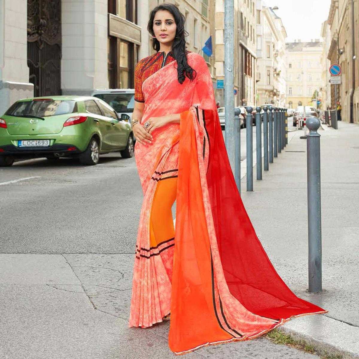Graceful Peach Colored Casual Printed Weightless Georgette Saree