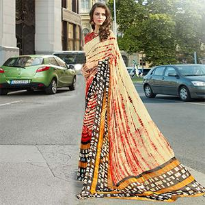 Stunning Cream-Red Colored Casual Printed Weightless Weightless Georgette Saree