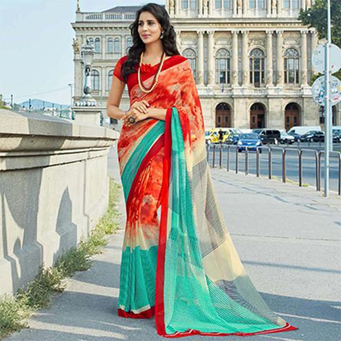 Lovely Red-Blue Colored Casual Printed Weightless Georgette Saree