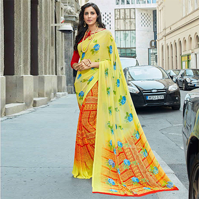 Attractive Yellow Colored Casual Printed Weightless Georgette Saree