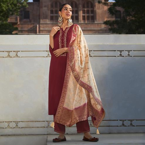 Adorable Maroon Colored Partywear Embroidered Pure Viscose Silk Palazzo Suit