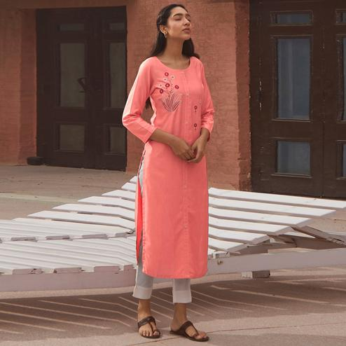 Charming Pink Colored Partywear Embroidered Pure Viscose Kurti