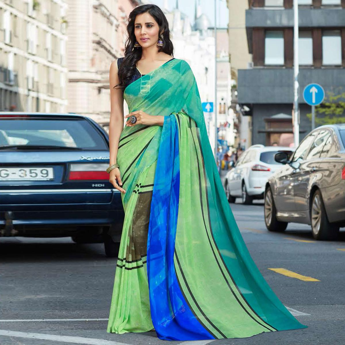 Beautiful Shaded Green Colored Casual Printed Weightless Georgette Saree