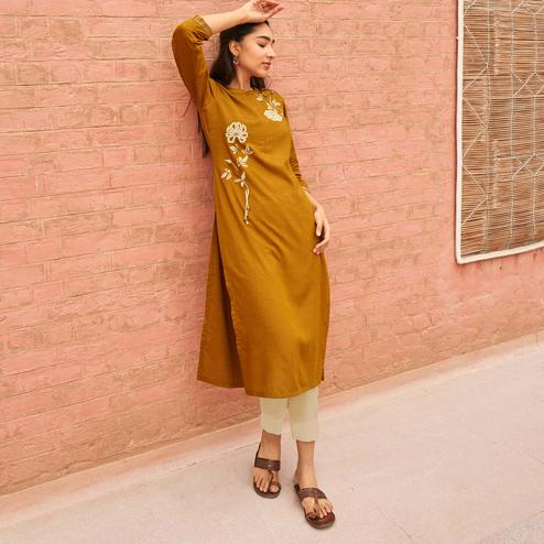 Innovative Mustard Colored Partywear Embroidered Pure Viscose Kurti
