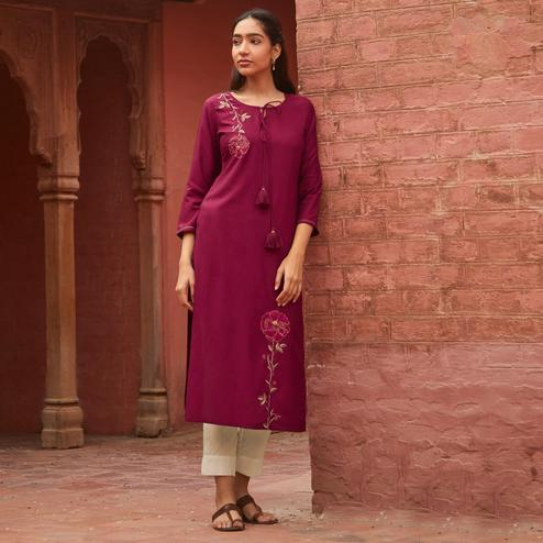 Eye-catching Wine Colored Partywear Embroidered Pure Viscose Kurti