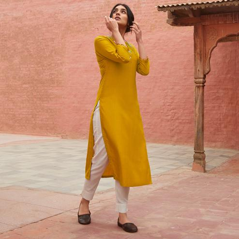 Fantastic Yellow Colored Partywear Embroidered Pure Viscose Kurti