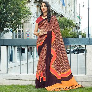 Charming Multi Colored Casual Printed Weightless Georgette Saree