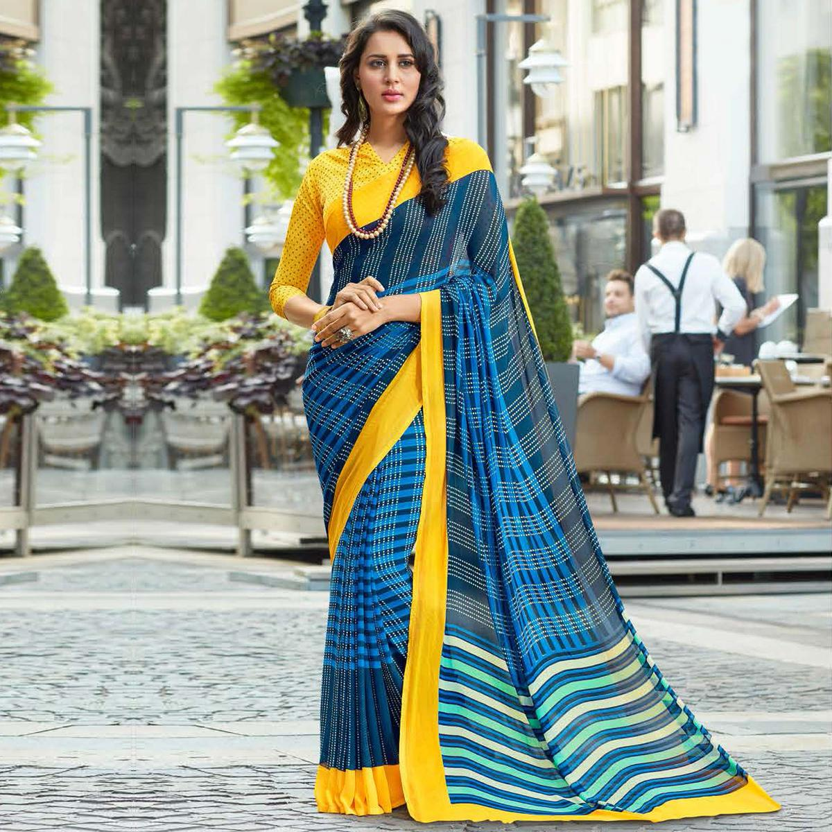 Sizzling Blue-Yellow Colored Casual Printed Weightless Georgette Saree
